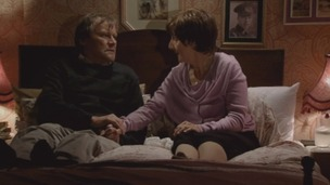 Coronation Street character Hayley Cropper with on-screen partner Roy
