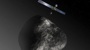 An artist's impression of the Rosetta orbiter deploying to Comet 67P/Churyumov-Gerasimenko