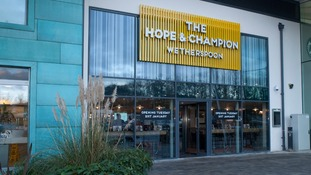 Britain's first motorway services pub, the Hope and Champion, opens today
