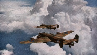 Halifax bombers on a bombing raid during World War 2