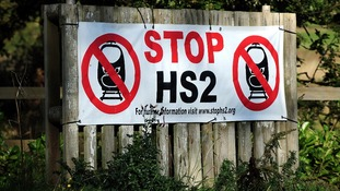 An anti HS2 sign in Whittington, Staffordshire
