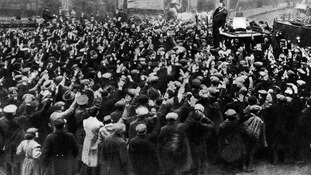 London rioters protesting against Conscription Act, January 1916.