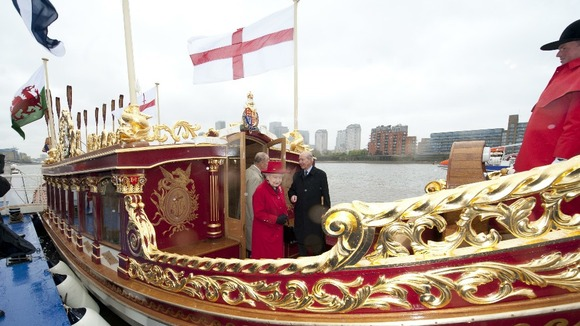 The Queen visits &quot;The Gloriana&quot; which will be leading the Thames river pageant.
