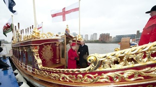 "The Queen visits ""The Gloriana"" which will be leading the Thames river pageant."