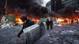 A pro-European integration protester in Kiev