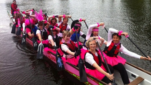 The Worcester Busters who are a group of dragon boat paddlers made up of breast cancer survivors 