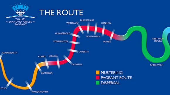 The route along the river Thames for the Diamond Jubilee pageant today.
