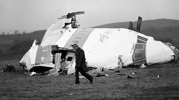 The wrecked nose section of the Pan-Am Boeing 747 at Lockerbie