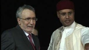 Abdelbasset al Megrahi with Said Gaddafi on his return to Tripoli