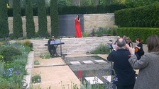 Laura Wright singing in Arthritis Research UK garden
