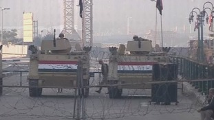 Armoured vehicles block the entrance to Tahrir Square in Egypt's capital Cairo.