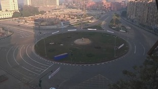 Tahrir Square was empty this morning as security forces blockaded the roads leading to it.