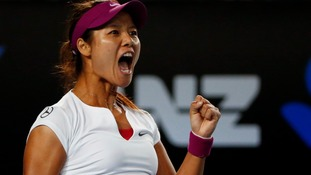 China's Li Na celebrates at the Australia Open.