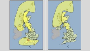 Met Office weather warnings for Sunday (L) and Monday