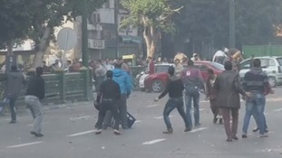 Protesters clash in Cairo.