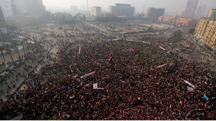 Supporters of Egypt's army and police gather at Tahrir square in Cairo, on the third anniversary of Egypt's uprising