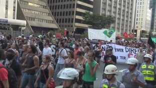 Up to 1,000 protesters marched.