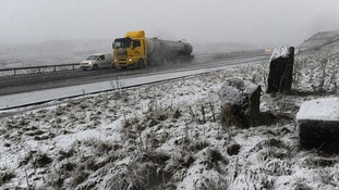 Traffic makes its way through snow in the Northern Pennines