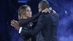 Beyonce and Jay Z open the Grammy Awards.