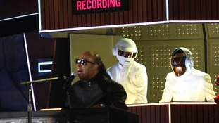 "Stevie Wonder performs ""Get Lucky"" with Daft Punk."