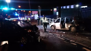 The scene of the crash at the junction of Peartree Lane, Dudley