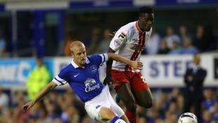 Oumare Tounkara in action against Everton earlier this season.