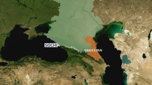 Map showing where Dagestan is located in southwestern Russia.