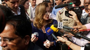 Valerie Trierweiler, French President Francois Hollande's former partner, speaks to the media in India.