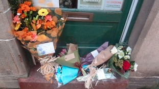 Flowers on the doortsep of Something Sweet in Hebden Bridge