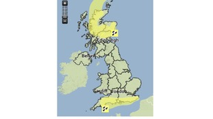 There is a weather warning across the south coast and northern Scotland today.