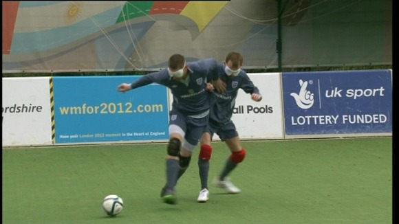 The Blind Football team training