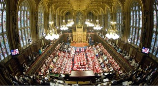 The House of Lords pictured using a fish-eye lense.