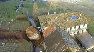 One giant boulder stopped metres before crashing into the main section of the property