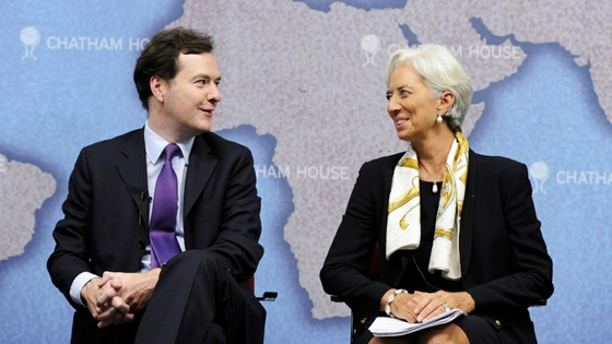 George Osborne and Christine Lagarde speaking last year