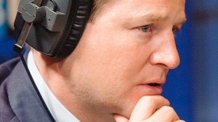 File photo of Deputy Prime Minister Nick Clegg in the LBC radio studio.