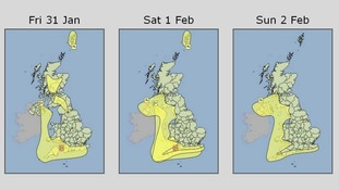 Rain and wind warnings issued by the Met Office for the next three days