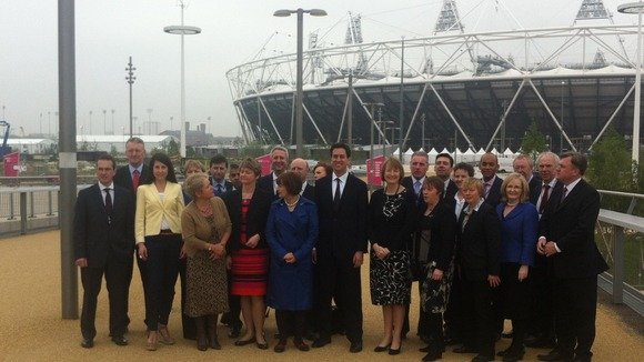 The shadow cabinet poses outside the Olympic stadium.
