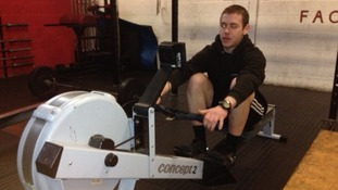 Matt Inglesby in training for his Atlantic rowing challenge
