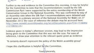 Letter from Welsh Conservative leader