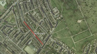 Hillside Avenue in Oldham is marked red