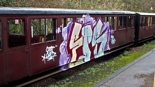 Damaged train at Bure Valley Railway