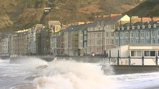 High tide in Aberystwyth this morning