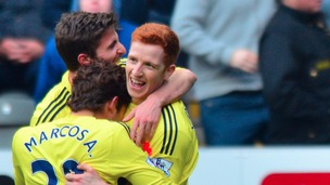 Goal from Jack Colback secures victory for Black Cats. Final score Sunderland 3-0 Newcastle.