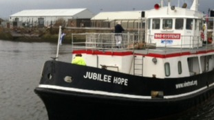 The Jubilee Hope is stuck in Falmouth because of the severe weather.