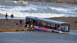 Ten people rescued after wave hits bus in Pembrokeshire
