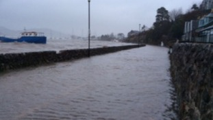 Kippford in Dumfries and Galloway flooded after high tide.