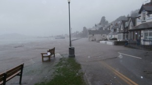 Streets in Kippford were deserted at high tide yesterday.