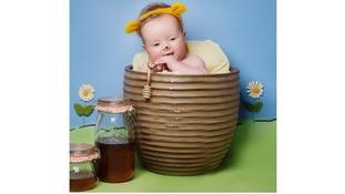 Charlie, 18 weeks, recreates Winnie the Pooh