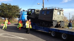 An amphibious vehicle un unloaded in Langport, Somerset