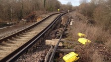 Damage to the track at Botley